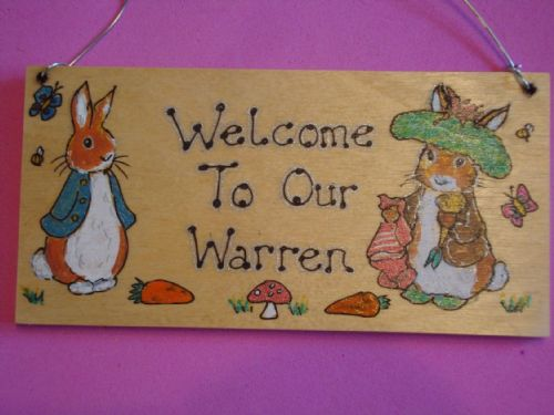 Benjamin Bunny & Peter Rabbit  Personalised Unique Wooden Door or Wall Sign Nursery, Playroom or Wendy House Plaque Handcrafted (1)